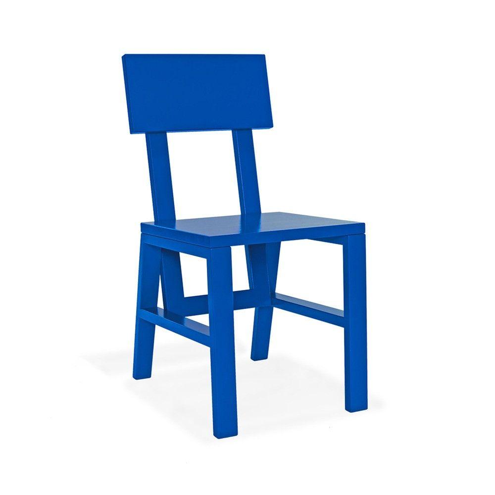 Handmade maple chair in bold blue