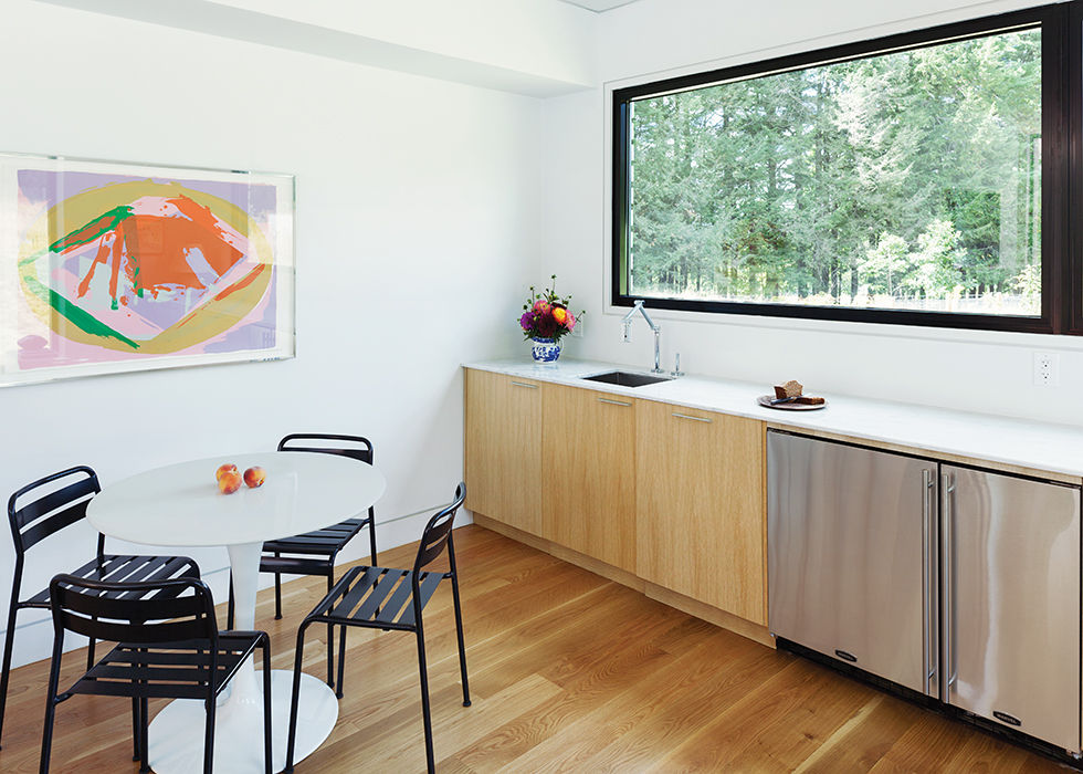 Boston prefab guest home and pool has a mini kitchen in the great room