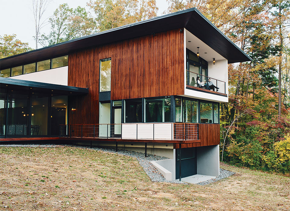 Modern home in North Carolina with cypress clad facade
