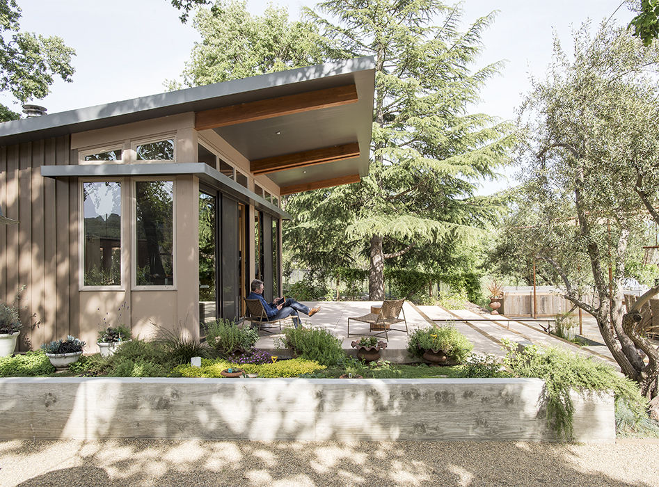 Exterior of the Stillwater Dwellings prefab in Napa