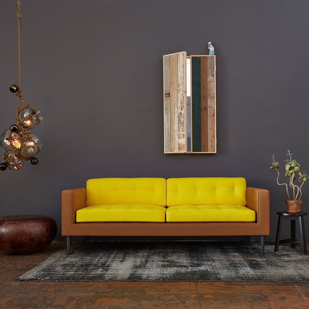 Contrasting yellow and camel sofa