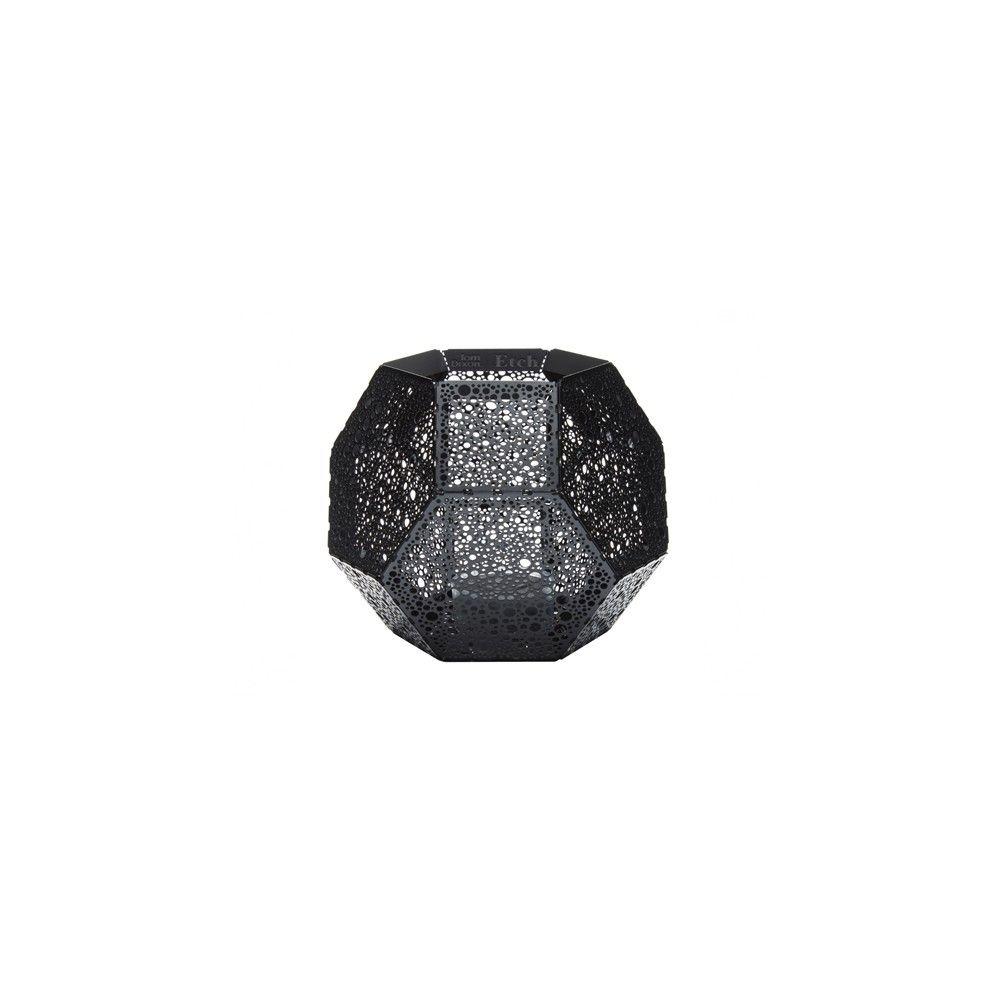 Geometric black etched tea light holder