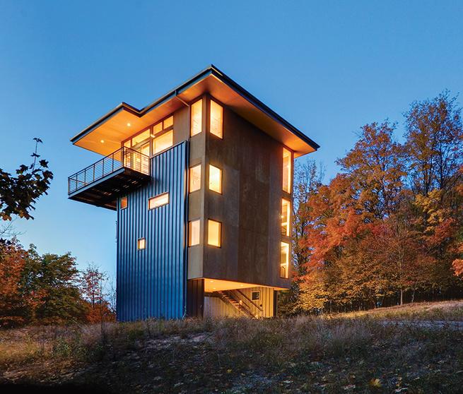 glen lake tower plywood metal siding