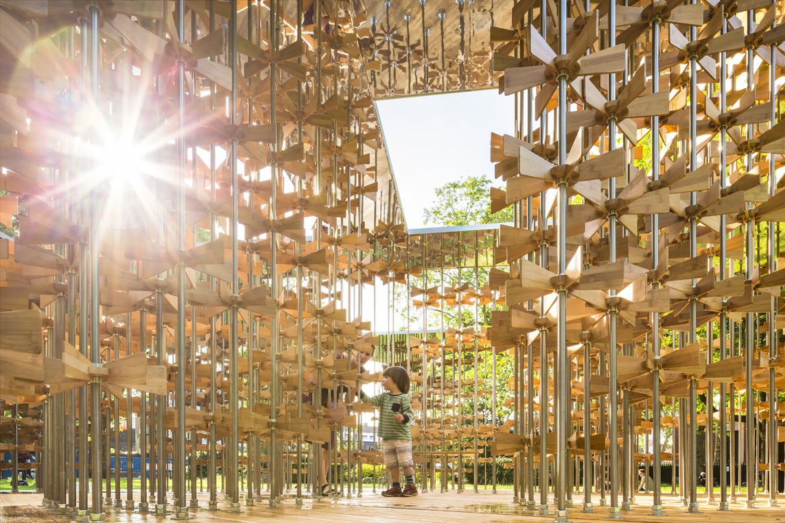 Triumph Pavilion made of a forest of pinwheels