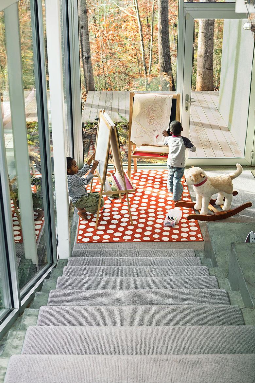 modern stair landing rug