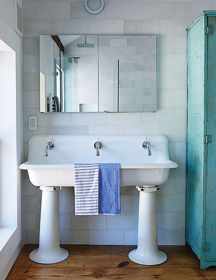 Salvaged schoolhouse sink in the Twisted Sister farmhouse