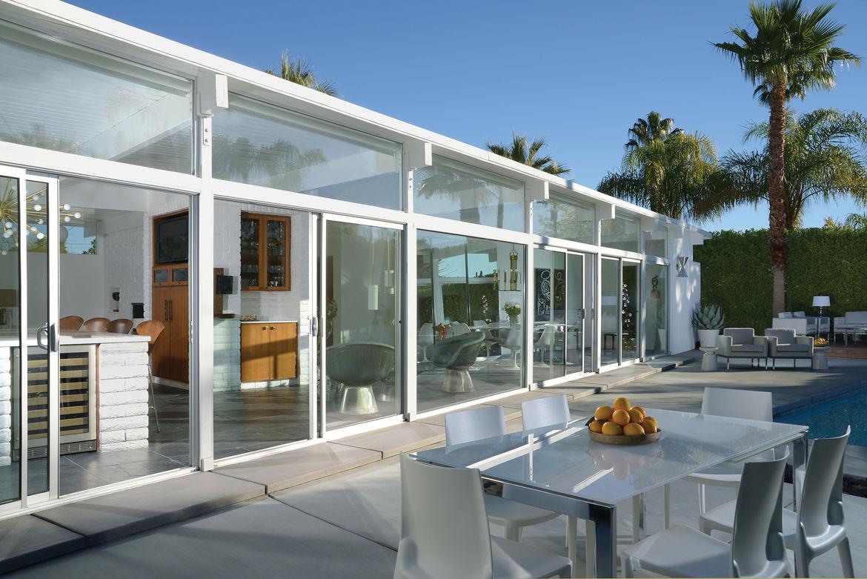 Exterior of 1956 Palm Springs modernist home.
