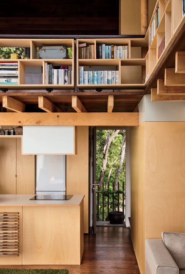 Modern small space in New Zealand with shelving and lofted sleeping area