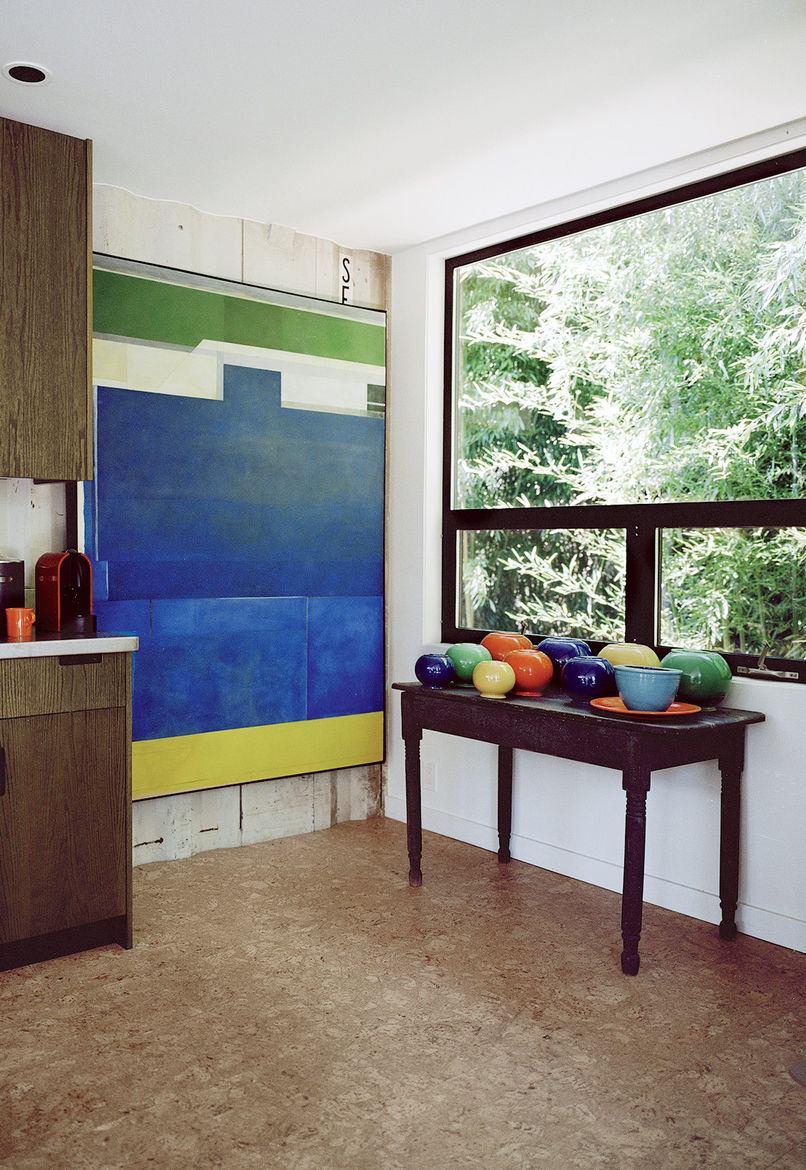 Cork floors of shipping container home in Pennsylvania off the Delaware River