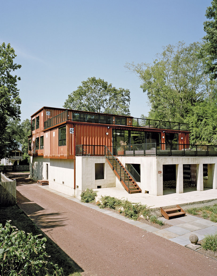 Shipping container home in Pennsylvania off the Delaware River