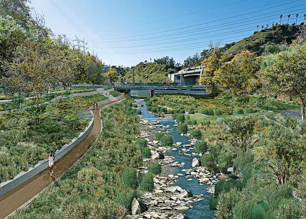 Los Angeles River with parks and wetlands after revitalization