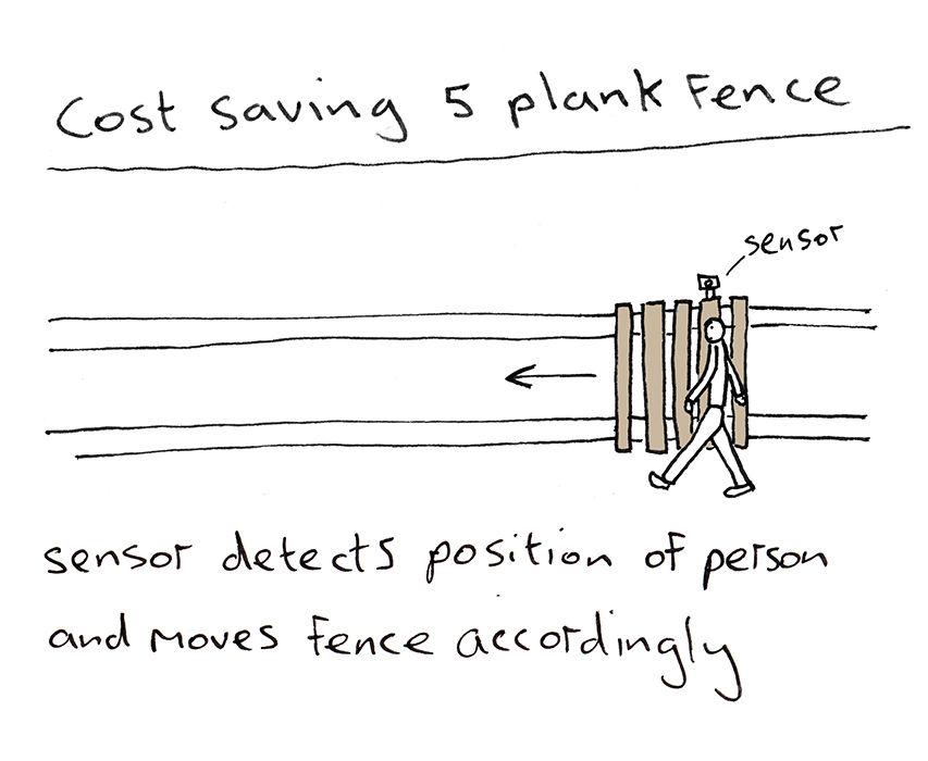 British artist and designer Dominic Wilcox illustrates smart tech 5 plank fence