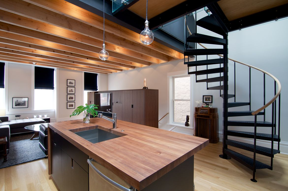 Custom cabinetry and trim in Chicago apartment renovation.