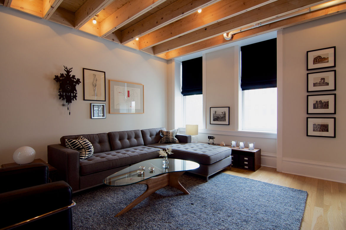 Gus* Modern sofa and Adrian Pearsall coffee table in Chicago living room.