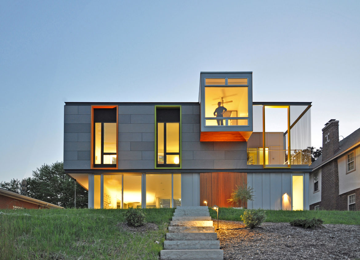 Back yard and exterior stairs at a LEED Wisconsin home