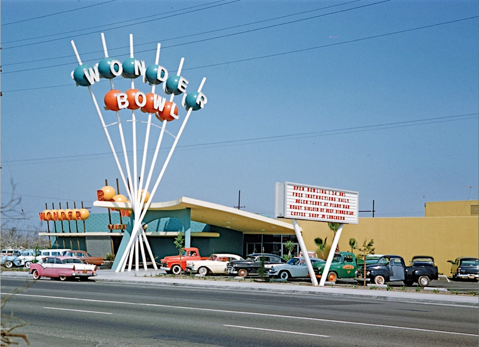 "Wonder Bowl, Anaheim, California,1958, Kodachrome image from the Charles Phoenix ""Slibrary"" Collection."