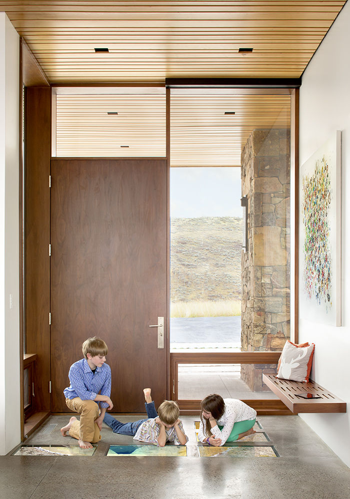 Flatscreen panels inlaid into the entryway at the Jackson Hole vacation home