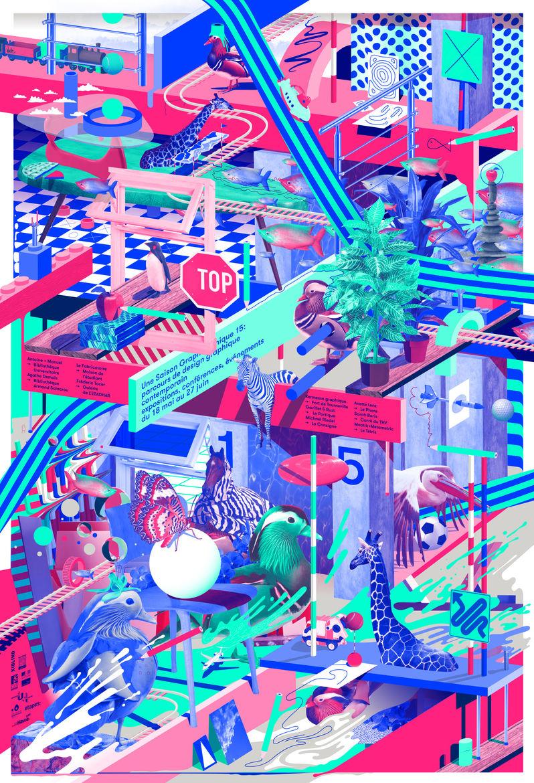 A print poster Felix Pfäffli designed last year for the French graphic design festival Une Saison Graphique.