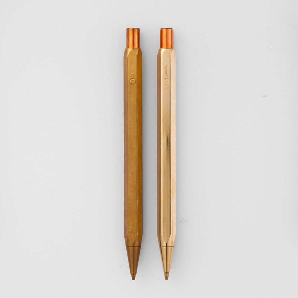 Brass mechanical pencil with hexagonal shape