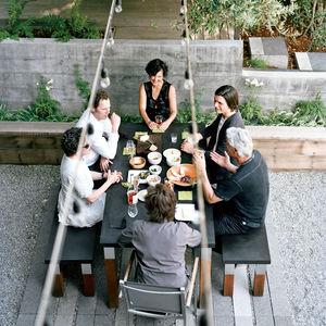 Modern picnic table in Marin County, California