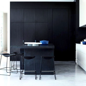 A kitchen with a wall of black cabinets