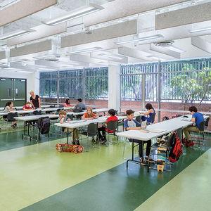 secondary education midcentury school reuse los angeles contemporary interior tables room