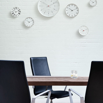 Array of Arne Jacobsen wallclocks from Rosendahl Timepieces