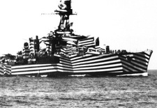 "A WWII vessel dressed in ""Dazzle Camouflage."""