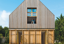 modern french country house facade wood