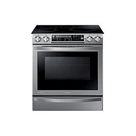 Modern energy efficient kitchen appliances like the Samsung induction chef collection range with flex duo oven