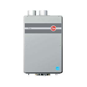 Modern energy efficient kitchen appliances like the Rheem Prestige condensing tankless water heater