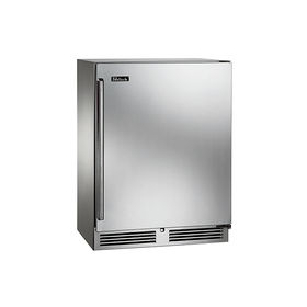 Modern energy efficient kitchen appliances like the Perlick under counter Sottile refrigerator