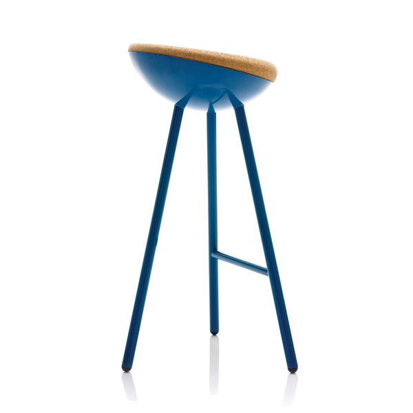 Blue chair with cork seat and metal legs