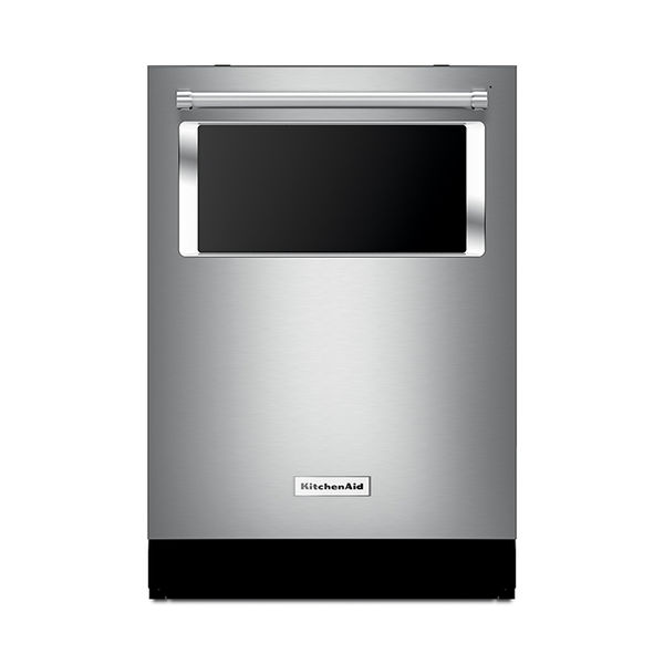 Modern energy efficient kitchen appliances like the Kitchenaid dishwasher with window