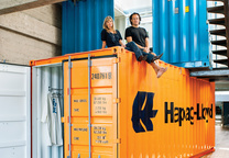 Orange shipping container indoor room
