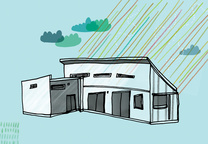 solar 101 house illustration blue green