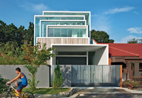 Modern home with multilayered facade