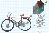 solar 101 bike plant house watch illustration  0