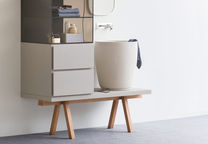 return to form sculptural sinks faucets bathroom esperanto collection rexa design sheliving stand washbasin
