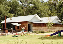 Modular Texas home facade and yard.