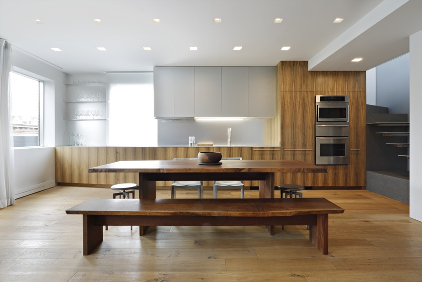 Soho penthouse with a custom walnut dining table