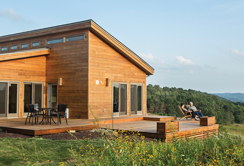 Modular, Prefab home of the grandson of Frank Llloyd Wright with outdoor deck