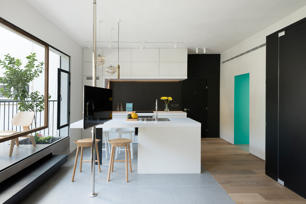 Tiny Tel Aviv Apartment Open Living and Dining Areas