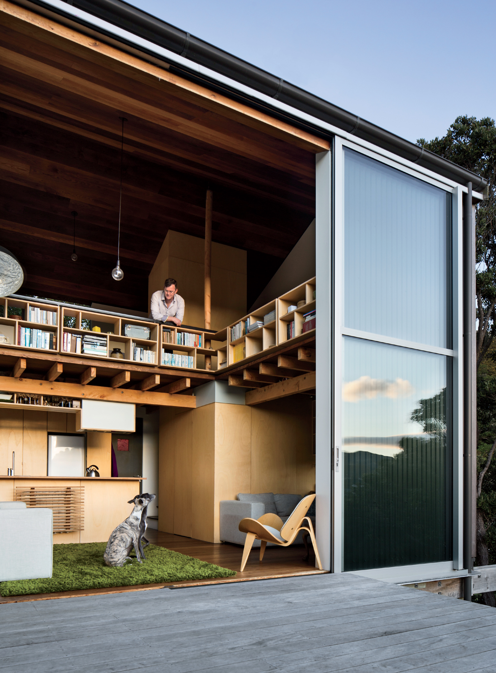 Modern small space in New Zealand with deck and lofted bedroom with shelving
