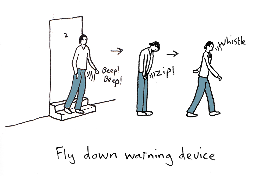 British artist and designer Dominic Wilcox illustrates smart tech fly down