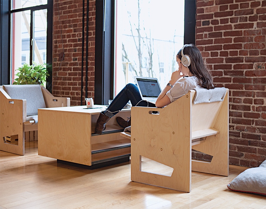 Airbnb office in Portland with custom furniture designed by Good Mob for laptop based work