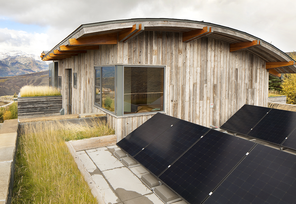 Living roof and solar panels at Jackson Hole vacation home